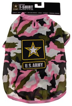 US Army T-Shirt For Dogs Pink Camo Choice Size XS Small Medium Large