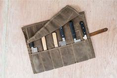 Leather and waxed canvas travel bag for chefs. Handmade by Butcher & Baker in Philadelphia. Waxed Canvas, Canvas Leather, Crafty Hobbies, Diy Knife, Canvas Travel Bag, Tool Roll, Case Knives, Leather Projects, Leather Accessories