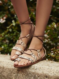 Vegan Maddie Tie Up Sandal | Strappy vegan leather sandals with lace-up design.   *By faryl robin + Free People