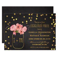 #engagement #party #invitations - #Engagement Party Mason Jar Confetti Chalkboard Card