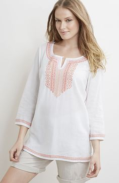petite embroidered linen & rayon top from J.Jill
