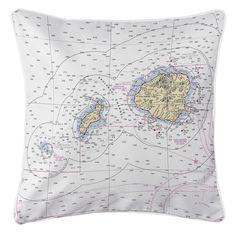 HI: Hawaiian Northern Islands Nautical Chart Pillow