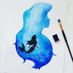 the little mermaid double exposure in my favourite colour blue #disneyprincess #thelittlemermaid #disney #watercolor