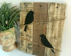 Bird silhouette Burlap and Wood sign Love Birds by HashtagAdorbs