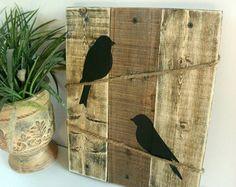 Bird silhouette Burlap and Wood sign Love Birds by HashtagAdorbs