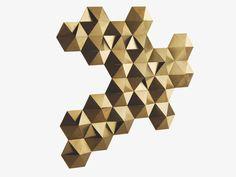 TESSELLATE GOLD metal Gold metal LED wall decoration - HabitatUK