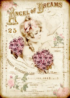 Free digital vintage stuff: Angel of Dreams...in a different language, but 4 gorgeous vintage free printables, just click and save, love these!