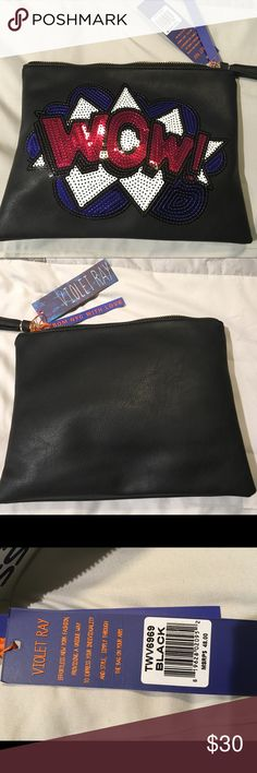 Violet Ray Bag NWT Black with Sequins  NWT Black Bags Clutches & Wristlets