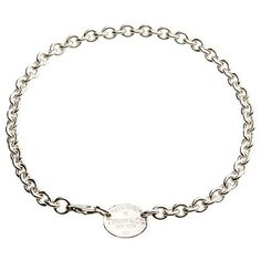 """TIFFANY & CO. STERLING SILVER """"RETURN TO TIFFANY"""" OVAL TAG LINK NECKLACE 15.5""""L  #TiffanyCo #Choker"""