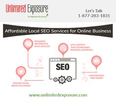 Looking for affordable local SEO services for your business at a great price. Unlimited Exposure offers SEO solutions to help you increase your business and web presence to attract several new clients as well as allow old lost clients to find you easily. For more details please visit http://www.unlimitedexposure.com/local-seo.html