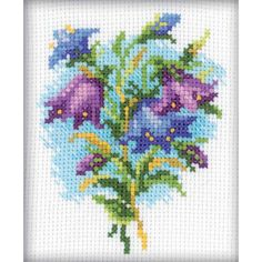 """Bluebells Counted Cross Stitch Kit-4""""X4"""" 14 Count"""