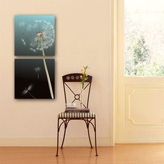 wall picture hallway bedroom background wallpaper collage art fly dandelion plant flowers romantic canvas painting JD-30071AB(2)