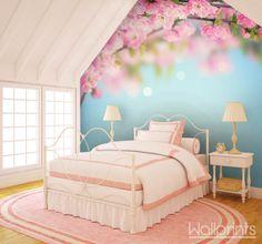 Romantische bloemetjes als fotobehang voor superzoete dromen...