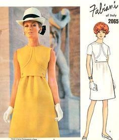 Mod 1960s FABIANI Dress Pattern VOGUE Couturier Design 2065 Jewel Neckline Semi Fitted Slightly A Line Bust  36 Vintage Sewing Pattern