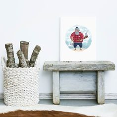 A very Father Christmas-like lumberjack by Olga Oilikki at CREAME.COM!  #creame_official #cool #art #illustration #drawing #draw #picture #photography #artist #artsy #beautiful #inspiration #creative #design #awesome #watercolor #lumberjack #hipster #style #white #snow #winter #warm #home #interior #bunny #Christmas  #decoration #modern #print