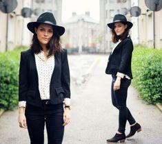 Jigsaw polka dot shirt, leopard print ponyhair belt and ankle boots