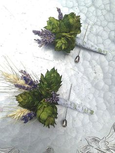 Boutonniere, hops and wheat
