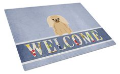 Pekingnese Fawn Sable Welcome Glass Cutting Board Large BB5685LCB