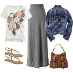 Grey maxi skirt, graphic tee, jean jacket, gold sandals