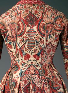 Coat (Wentke) (detail), Netherlands, mid-18th century. Textile: India, 1725-50, Cotton, drawn and painted resist and mordant, dyed. The Metropolitan Museum of Art, Purchase, Isabel Shults Fund, 2012.
