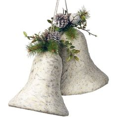 """National Tree Company 10"""" Christmas Bells Wall Decor ($70) ❤ liked on Polyvore featuring home, home decor, holiday decorations, white, globe christmas ornament, christmas holiday decorations, snow globe christmas ornaments, white ball ornaments and xmas ball ornaments"""