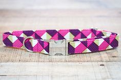 This female pink and purple geometric inspired dog collar is such funky, fun addition to your favorite puppys Autumn wardrobe! The pink and purple pattern with a little green thrown in make this a dog collar that is certain to pop and accent any fur color! Know someone you need an extra special gift for? This pet collar will fit a wide size range, small to large, (or if you need a custom size just let me know) check out the ordering directions below. Your favorite puppy will thank you! This…