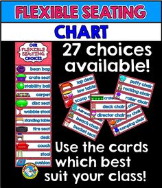 Keep track of students' seating choices by using this attractive and useful 'flexible seating' clip chart. 27 alternative seating choices are included in this resource! Simply print, laminate and choose the cards which are suited to your classroom.  Click to view resource! :)