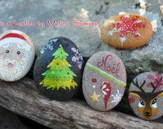 Galets peints à la main - Sapin, étoile, père-noël, renne, flocon de Noël - Modifier une fiche produit - Etsy