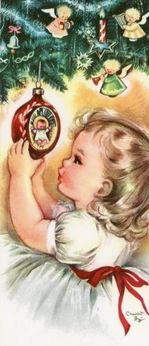 Vintage-Christmas-Greeting-Card-Charlot-Byj-child-Ornaments-EB6214