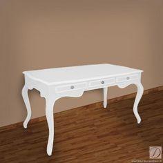 Schreibtisch MONA weiß B132cm Pinie Massivholz - Formschöner Sekretär, Konsole mit elegant kunstvoller Relief-Schnitzerei auf der Front in einem schönen strahlenden antik Weiß.