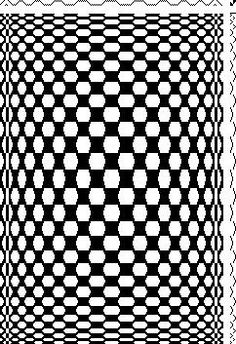 "6-shaft weaving draft for ""Circus Op"" designed by Laurie Herrick. Draft appears in book Weavers Study Course by Elsie Regensteiner.:"