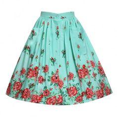 Adalene Mint Rose Skirt   Vintage Style Skirts - Lindy Bop