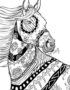 Adult Coloring book Horses by Valentina Ra | Coloring pages ...