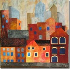 Cityscape, an art quilt by Elizabeth D.  From a 2010 workshop by Elizabeth Barton.