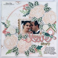 Our Love Story Layout and Process Video Love Scrapbook, Wedding Scrapbook, Scrapbook Pages, Wedding Titles, Wedding Album, Map Sketch, Stitching On Paper, Beige Art, Image Layout