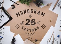 "Introducing the Monogram. ABC Vintage Logos from Sergiozest""Monogram. ABC Vintage Logos"" it's everything you need to design totally awesome, Monogram Name Based Logos. handcrafted letters and 26 Name Based Vintage Logos… Vintage Logos, Free Monogram, Monogram Logo, Logos Ideas, Adobe Illustrator Cs6, Packaging, Branding Materials, Logo Design Trends, Professional Logo"