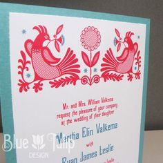 Scandinavian Love Birds Turquoise and Red by mybluetulipdesign, $3.75