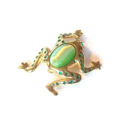 Vintage Jelly Belly style Frog Brooch Pin by MargsMostlyVintage
