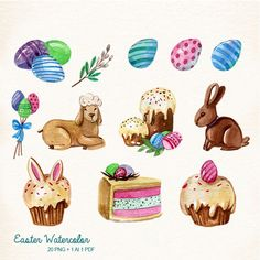 Watercolor Easter Easter Easter bunny clipart Easter Egg