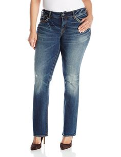 Silver Jeans Women's Plus-Size Suki Mid Rise Baby Bootcut Jean -- Visit the image link more details.