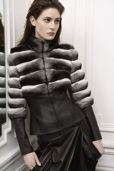 alexia jacket . chinchilla and stretch lambskin bharat trousers . lambskin model : maud le fort