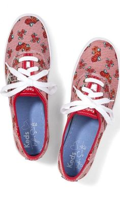 5fce1d56a1d8 Details about Taylor Swift For Keds Champion Red Rose Stripe Pumps SZ 10  NEW Missing Charm