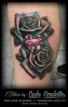 TATTOOS BY CUDA VENDETTA Some nice black roses with blue tips and a jeweled heart. BIG JOE & SON'S TATTOO - MOHEGAN LAKE NY 914-603-3442 Joe Son, Tattoo For Son, Diamond Tattoos, Color Tattoos, Blue Tips, Black Roses, Hand Tattoos, Canvas, Tela
