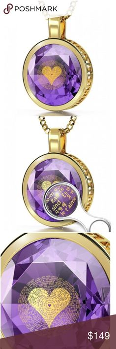 """120 Language 24K Gold Pendant Necklace Say I LOVE YOU in 120 different languages with this sparkling necklace. A beautifully crafted round-cut, faceted purple CZ pendant inscribed with """"I love you"""" in 120 languages in 24K gold detail and set in a bold frame. Comes with box, magnified photo pamphlet, and  mini magnifying glass that can be placed on your keychain. Such a lovely statement piece.   Metal -Gold Plated Stone -Cubic Zirconia (looks like purple amethyst)  Chain -18 in (45cm) Pendant…"""