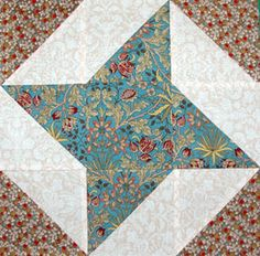 "Free Nine Patch Quilt Block Patterns: 6"" and 12"" Friendship Star Quilt Block Pattern"
