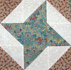 "Free Nine Patch Quilt Block Patterns: 6"" and 12"" Friendship Star Quilt Block Pattern"