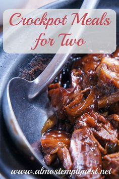 Crockpot Meals for Two. Recipes for chicken tacos, chili, and beef stroganoff for two people.