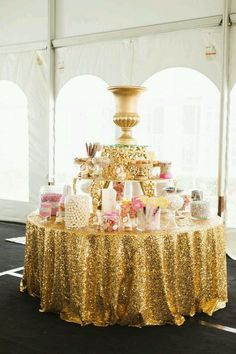 Golden table with treat's