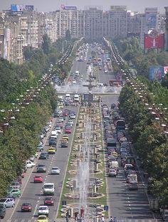 Bucharest city traffic in Boulevard Unirii, Romania
