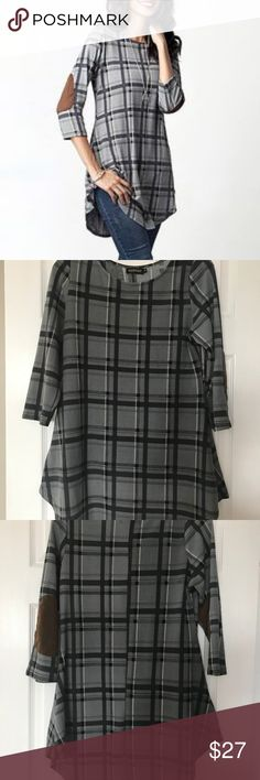 "Gray Plaid Tunic with Elbow Patches medium Soft tunic in excellent condition, looks cute with leggings and boots.  Rayon/spandex blend.  Medium. From a smoke free home. Measures 18"" from underarm to underarm, 33"" in length from back collar Reborn Tops Tunics"